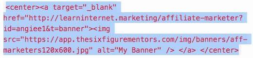 banner code to insert banners