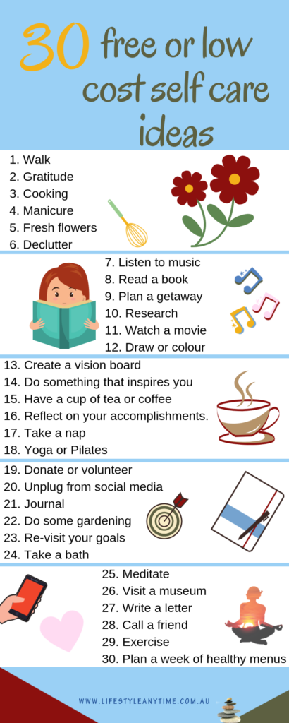 30 free or low cost self care ideas