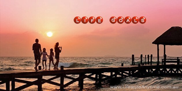 Enjoying the sunset on a pier with the words life goall