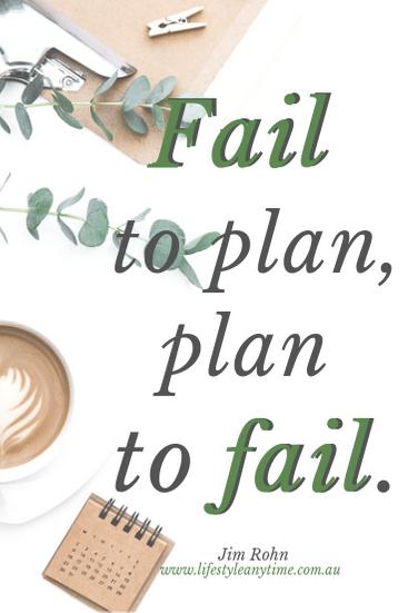 Clipboard, coffee, calendar, Jim Rohn quote fail to plan plan to fail.