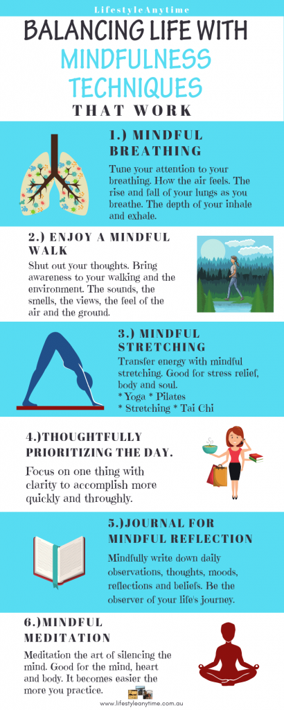 Pinterest infographic on balancing life with mindfulness techniques, work life balance techniques