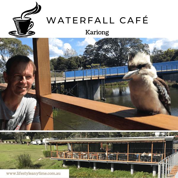 Waterfall Cafe coffee and kookaburra