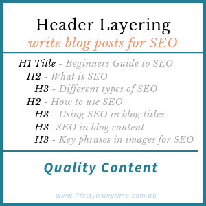 Example on how to layer heading for blog posts using H1 H2 H3 heading settings