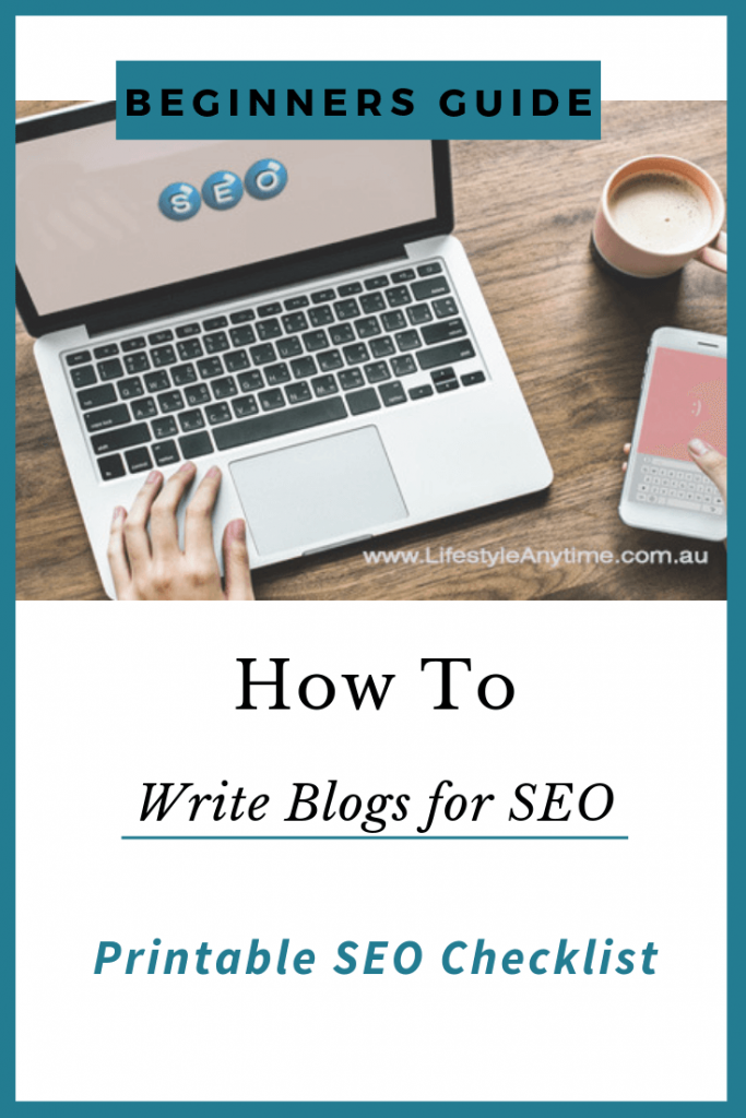 Lady hand scrolling on laptop which has SEO on the screen, she is multitasking scrolling through a mobile with her right hand and also has a coffee on the wooden desk. Below the picture on a white background are the words how to write blogs for seo.