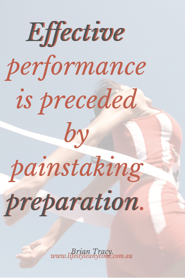 Lady winning a race. Quote by Brain Tracy Effective performance is preceded by painstaking preparation.