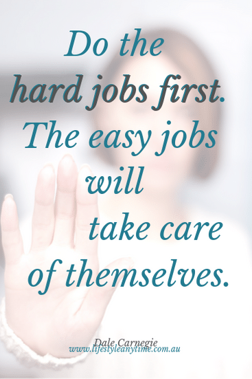 Lady with hand up in stop position. Do the hard jobs first, the easy jobs will take care of themselves. Quote by Dale Carnegie