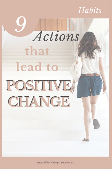 Lady walking up the stairs choosing a good action that lead to a positive change.