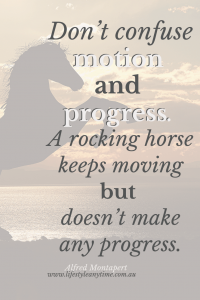 Alfred Montapert quote on motion and progress with horse in background