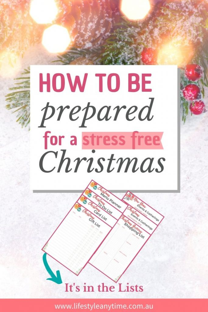 How to prepare for a stress free Christmas using Christmas planning lists.
